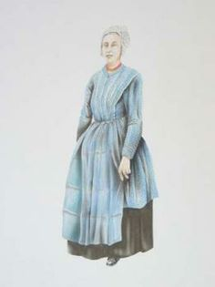 Pentekening/airbrush voorstellende de daagse dracht van een vissersvrouw omstreeks 1900, Vlaardingse klederdracht, zwarte onderrok, blauw jak, blauw voorschoot, halsketting met 2 snoeren en slot, witte kanten muts. Door Leo Man in 't Veld, datering 2003  #ZuidHolland #Vlaardingen