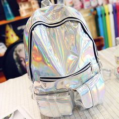 Trendy Holographic Backpack 7 Colors 2 Sizes