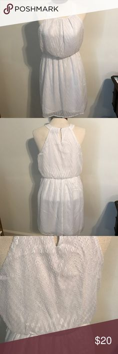 White dress great cut! White dress great for bridal shower or bachelorette! Very comfortable with a great cut. Chevron like pattern. Sheer top & lined 😍 smoke free home. As always, feel free to make an offer & the more you buy the more you save😊 As U Wish Dresses Asymmetrical
