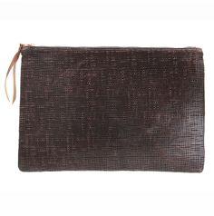 Brown mesh embo mensover clutch from STUDIOSBYJ $110  www.studiosbyj.com StudiosByJ online shop