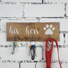 Rustic wall key hanger, wooden dog lover gift, wood leash holder, wood wedding gift, key and lead rack, anniversary gift, gift for couple #anniversarygifts #DogLover
