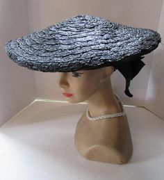 e87f5921f88 Black Straw Hat Pancake Style Hat Wide Brim Hat Mid Century Fashions Gros  Grain Ribbon New Look Fashions Jean Allen Hat Style by Gage