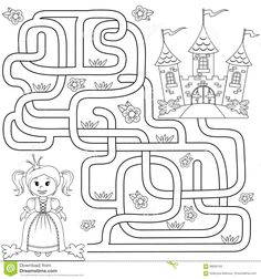 Mazes For Kids Printable, Printable Christmas Coloring Pages, Maze Games For Kids, Math For Kids, English Worksheets For Kids, Fun Worksheets, Ste Cecile, Maze Book, Maze Worksheet
