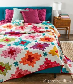 Be Bold- Designers: Jo Kramer and Kelli Hanken Strip-set blocks in bright modern prints. See the featured quilts and web-exclusive color options and projects from the American Patchwork & Quilting June 2019 issue. Quilting Projects, Quilting Designs, Quilting Patterns, Quilting Tips, American Patchwork And Quilting, Patchwork Fabric, Quilt Modernen, Modern Quilt Patterns, Modern Quilting