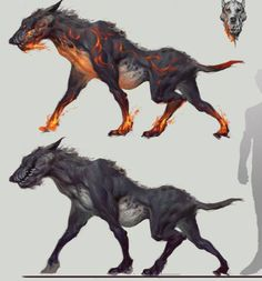 They: These are Hellhounds. Very monstrous indeed and very dangerous. Hellhounds are mostly found in the Dragon's Wing, though guardians of the Cave, they have a vicious bite. They are a class 3.