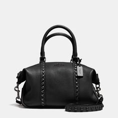 COACH Central Satchel in Lacquer Rivets Pebble Leather