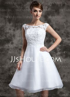 Wedding Dresses - $128.69 - A-Line/Princess Scoop Neck Knee-Length Organza Lace Wedding Dress (002015023) http://jjshouse.com/A-Line-Princess-Scoop-Neck-Knee-Length-Organza-Lace-Wedding-Dress-002015023-g15023