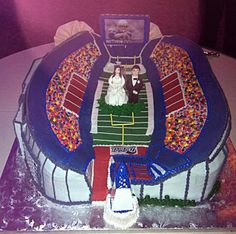 If the bride and groom are football fans, then this Patriots themed cake would be fun