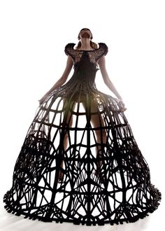 Dramatic Cage Dress - 3D fashion constructs; sculptural fashion design; dark romance // Arachne collection by Malgorzata Dudek