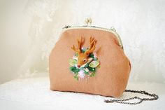 Unique Elk Wool felt embroidery Cashmere bag Metal by hitomigift