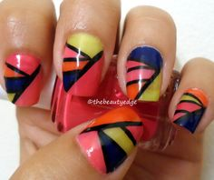 Colorful Colorblock Manicure