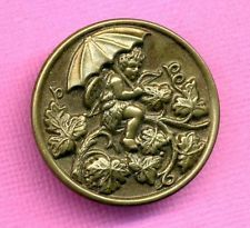 Antique Picture Button...Large Cupid w Umbrella & Bow...Grapes & Grape Leaves