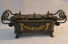 Image detail for -Antique English Regency inkwell in patinated bronze & ormolu - Gavin ...