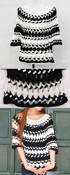 Black and White Striped Tunic Sheer Blouse от Tinacrochetstudio Black and White Striped Tunic Sheer Bluse von Tinacrochetstudio Hairpin Lace Crochet, Crochet Tunic, Crochet Jacket, Crochet Clothes, Crochet Tops, Broomstick Lace, Crochet Woman, Love Crochet, Lace Patterns