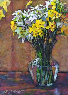 Just Landscape Animal Floral Garden Still Life Paintings by Louisiana Artist Karen Mathison Schmidt: Heirlooms II post-impressionist style painting of daffodils and paperwhites in a glass vase • yellow daffodil art • spring flowers illustration • flower painting acrylic • Daffodil art • glazing with acrylics • Louisiana artist still life • floral illustration