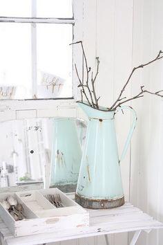 pale blue pitcher