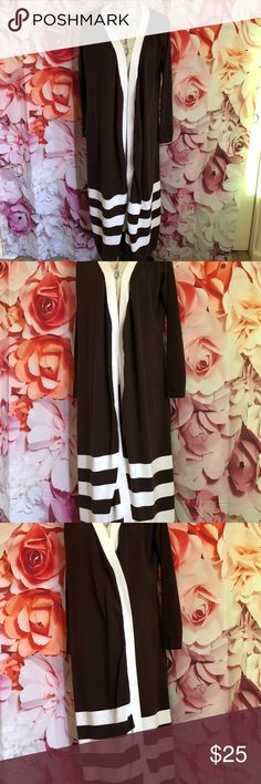 Long Cardigan in like new condition Beautiful white and brown long cardigan by Spiegel. Comes with white belt. No rips, snags, or pilling Spiegel Sweaters Cardigans