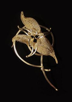 """Mary Lee Hu: Trillium Brooch, Brooch #35 in 18k and 22k gold. Approx 8 1/2"""" x 3 3/4""""."""