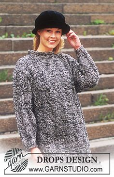 DROPS Sweater in Alpaca and Silke-Tweed in men's and women's sizes. Long or short model