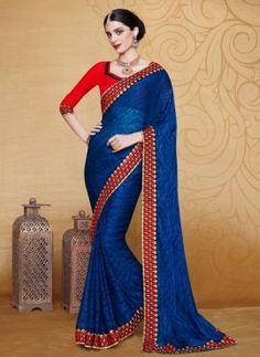 Blue Indian designer party wear saree in brasso