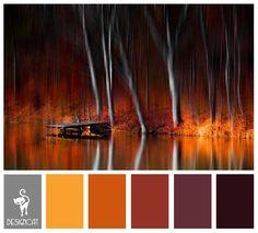 Lakeside Autumn: Grey, Yellow, Orange, Brown, purple - Colour Inspiration Pallet