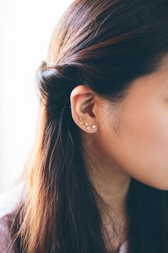 Stone Blossom Ear Pin Earrings