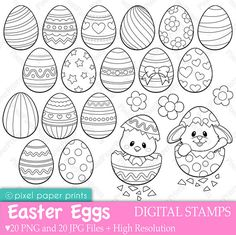 Easter Eggs - Digital Stamps