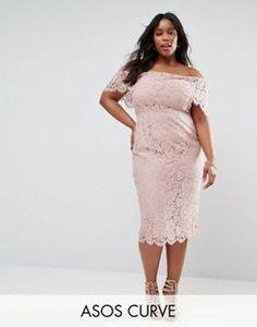 ASOS CURVE Lace Bardot Longer Length Midi Pencil Dress