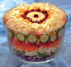 Trifle Layered Veggie Salad... Yum ! with cabbage, lettuce, cucumbers, cherry tomatoes, carrot shreds, zucchini shreds,red onion, yellow & green pepper rings, pineapple rings , mandarin oranges, alfalfa sprouts, & almonds.