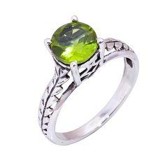 Natural Peridot Ring Wedding Engagement 925 Solid Sterling Silver Jewelry #Handmade #Filigiri #Wedding