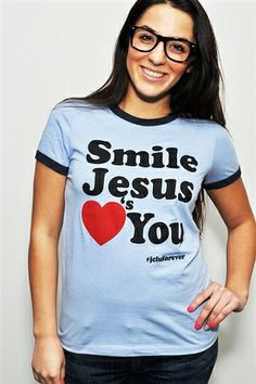A simple message tee, Smile Jesus Loves You. Printed on a baby blue ringer tee with blue trim. This tee has that 70's vintage look to it but with a message that should make you smile :) $17.99