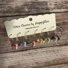 Silver Wine Charms, Simple Wine Charms, Hostess Gift, Wine Accessory, Bring a set to the host of the party! Wine Charms by Happylilac