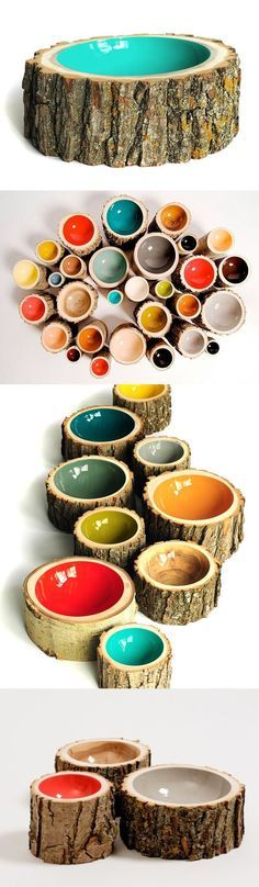 Nifty Tree Log Bowls - Reclaimed & Re-purposed from Fallen tree branches and trunks & turned into beautiful decorative bowls with glossy painted centers. Maybe diy with removable bowl for washing. Wood Crafts, Diy And Crafts, Arts And Crafts, Diy Wood, Tree Logs, Tree Stumps, Tree Branches, Tree Branch Crafts, Tree Branch Decor