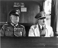 General (later Field Marshal) Wilhelm Keitel (hanged 16th October 1946 for war crimes) with Hitler in 1940.