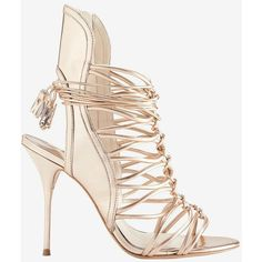 Sophia Webster Lacey Strappy Cage Rose Gold Metallic Sandal ($695) ❤ liked on Polyvore featuring shoes, sandals, gold, rose gold metallic shoes, strappy high heel sandals, strap sandals, leather sole shoes and metallic gold sandals