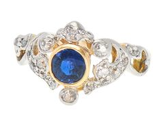 Tiara for the Hand - Diamond Sapphire Ring