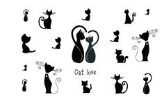 Min.order is $5 New 2014 Temporary Tattoo Stickers Sexy Black Cat Love Couple Finger Arm Body Art Sleeve Waterproof Fashion