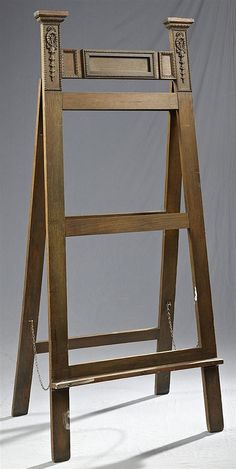 Large Late Victorian Carved Oak Easel, c. 1900, with applied bellflower relief carving and beaded molding, property of George Dureau