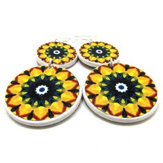Limited Decoupage Earrings, Yellow and Green Mandala Earrings, Decoupage Jewelry Diy Decoupage Earrings, Decoupage Ideas, Cute Summer Dresses, Mandala, Mixed Media, Bright, Group, Yellow, Amazing