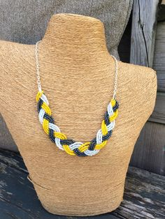 Navy braided bib navy necklace navy bridesmaids by EmmieMaeBridal
