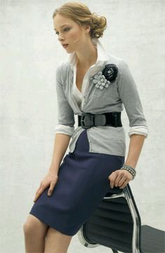 Pencil skirt with cardigan