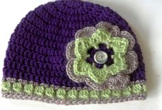 #Crochet Hat - Purple/ green color combo and large flower