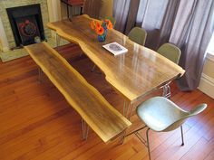 Slab wood table made from plywood!!! I love the look of slab wood but this is a more affordable alternative