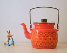 Amazing!!! Finel of Arabia Finland Enamel Tea Pot / Kettle. on Etsy, $50.86