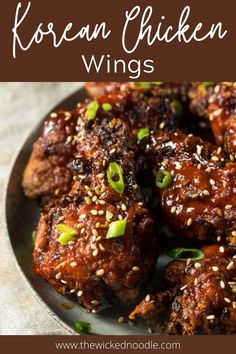 This recipe for Korean Chicken Wings is sweet and spicy and sooo delicious! They're baked until they're as crispy as if you'd fried them, then tossed in an easy-to-make but flavorful sauce. Learn this simple method and you'll be baking all your chicken wings this way! #chickenwings #bakedchickenwings #koreanchickenwings #thewickednoodle Korean Chicken Wings, Baked Chicken Wings, Easy Delicious Recipes, Tasty, Lemon Pepper Wings, Appetizer Recipes, Appetizers, Good Food, Yummy Food