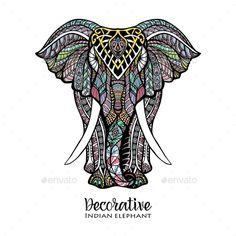 Hand drawn front view elephant with colored ornament vector illustration. Editable EPS and Render in JPG format