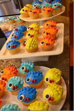 Fish Birthday Party Cupcakes - Yellow, Orange, Teal & Blue
