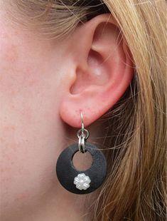 Earrings - White Flower Fish Hook Earrings, Wood Earrings, Black Earrings, Vintage Hair Accessories, Fashion Accessories, Boho Jewelry, Handmade Jewelry, Jewellery, Plastic Flowers