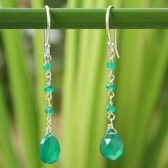 Sterling silver dangle earrings, 'Lady' - Hand Made Chalcedony Earrings