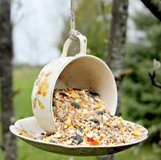 Do you have cups and saucers that you no longer use? Recycle them and make this unusual bird feeder ready for your spring garden! Use Gorilla Glue Original as it is waterproof and tough enough to stand up to the elements.